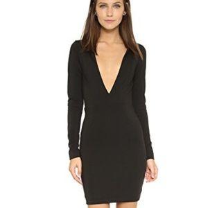 AQ/AQ Black sez midi deep V party dress size 4
